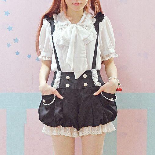 Salopette Kawaii noir/rose été nouvelle dentelle volants Double boutonnage lanterne porte-jarretelles Lolita combinaisons douces barboteuses mignonnes