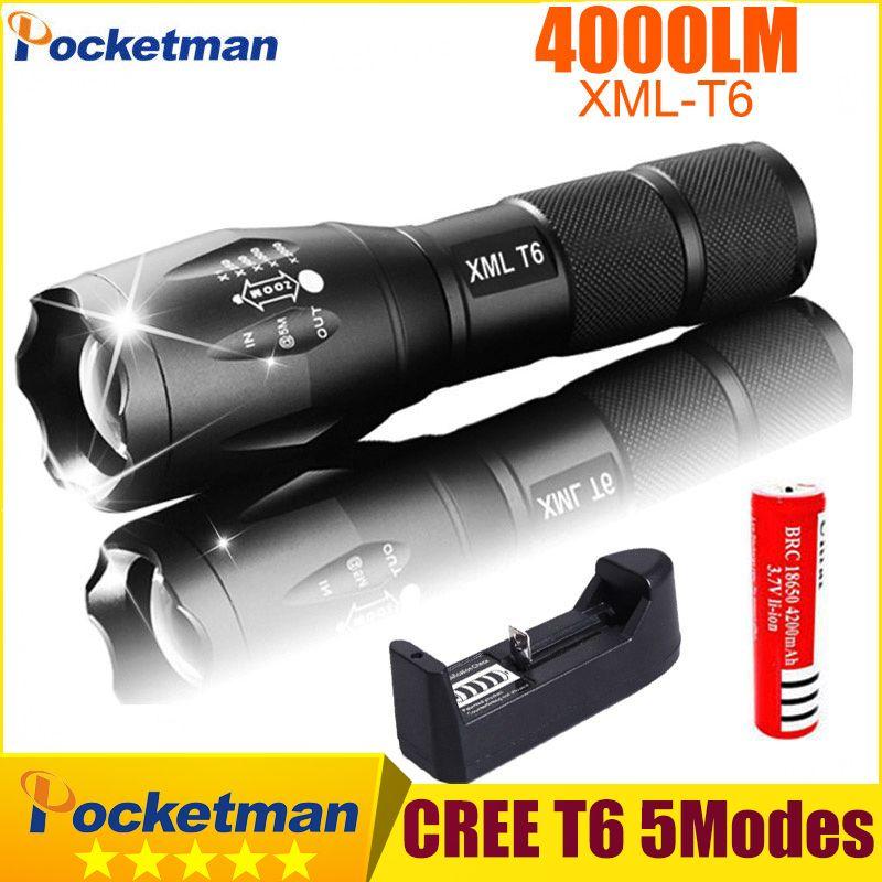 Lanterna CREE xm-l T6 4000lm тактический фонарь зум linternas светодиодный фонарик для 3 xaaaor 18650 Перезаряжаемые Батарея Z93