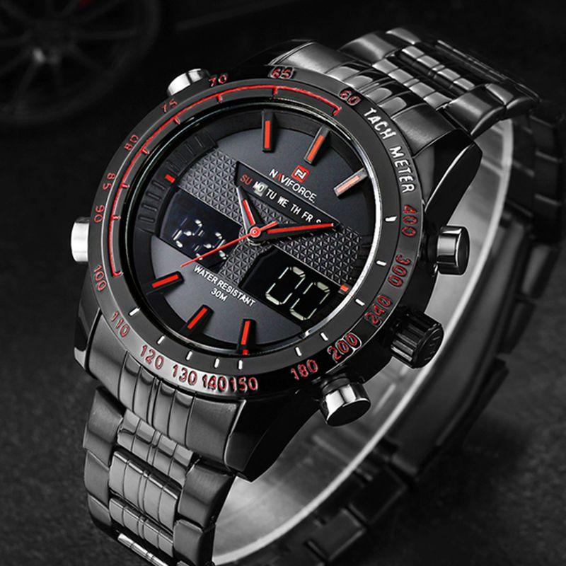 Relojes hombres NAVIFORCE 9024 Reloj de Cuarzo de Acero Llena de marcas de lujo LED Digital Reloj Militar Del Ejército reloj Deportivo relogio masculino