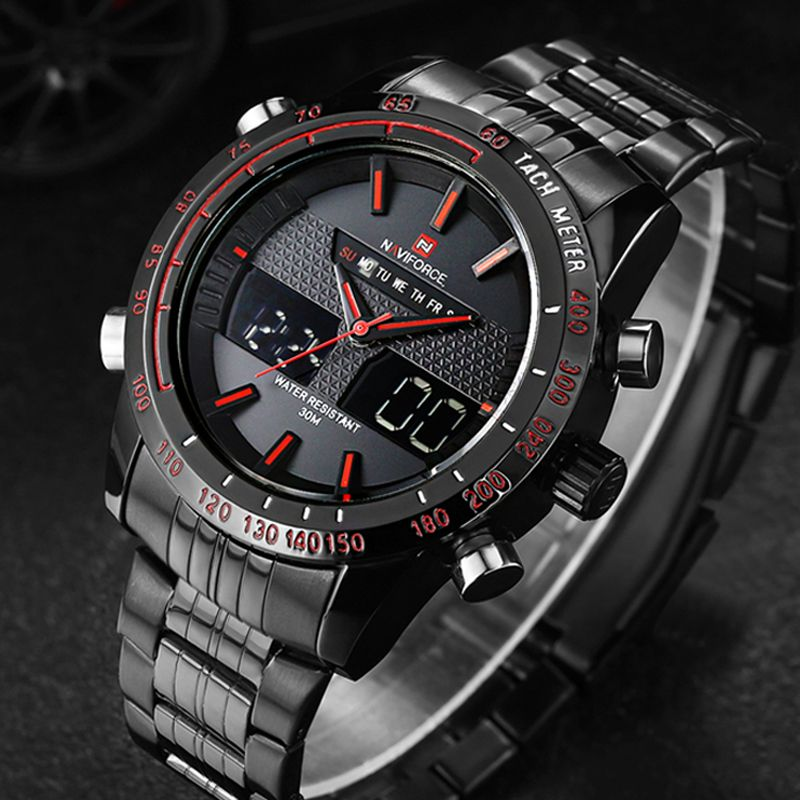 Watches men NAVIFORCE 9024 luxury brand Full Steel Quartz Clock Digital LED Watch <font><b>Army</b></font> Military Sport watch relogio masculino