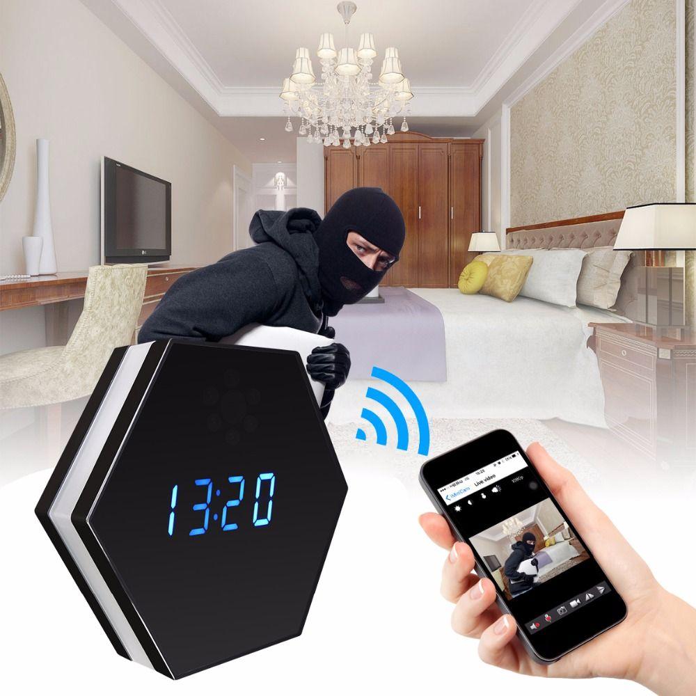 Wifi Wireless Mini Camera Clock HD 1080P Smart Mirror Clock IP Night Vision Two-Way Audio Motion Detection Colorful LED Light