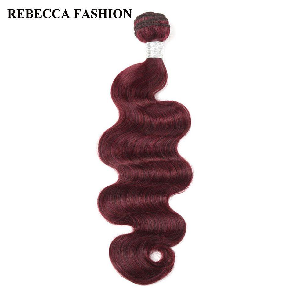 Rebecca remy Armadura Brasileña Del Pelo Lía 1 unid Onda Del Cuerpo de Color Vino rojo Tejer Del Pelo para el salón de Baja Relación de Pelo más largo PP 10%