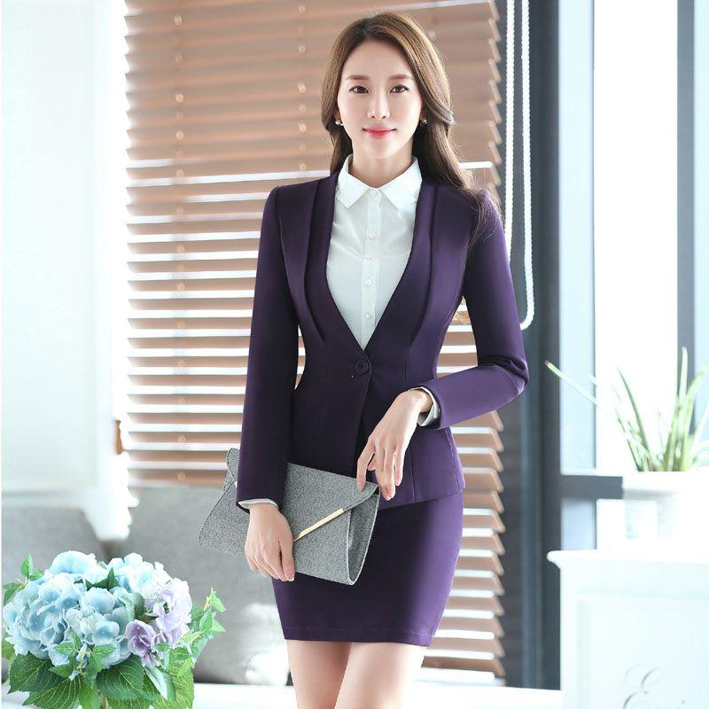 Novelty Purple Fashion Formal Uniform Design Professional Autumn Winter Business Women Skirt Suits Jackets And Skirt Blazers Set