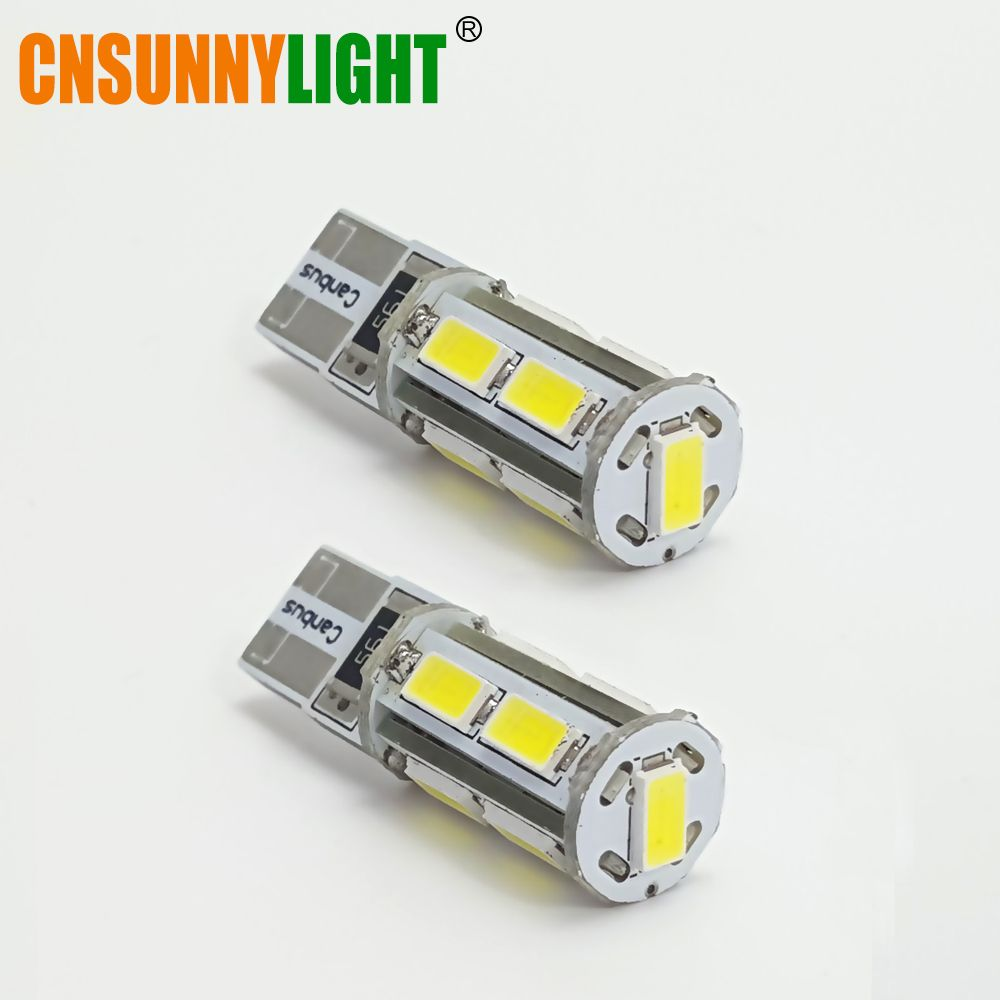 CNSUNNYLIGHT Car LED T10 W5W 9SMD Canbus Bulbs For Audi Q5/Bmw/Ford Auto Interior Reading Side Signal Lights DC 12V Error Free