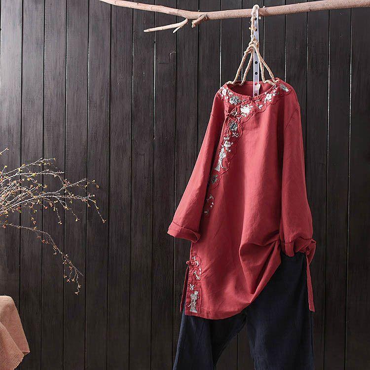 National Style Literary Embroidery Plate Button Shirt Long Section Cotton Linen Tea Service Zen Clothing Sen Female
