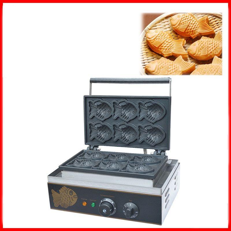 110/220 v 6 stücke Kommerziellen Elektrische Fisch Waffel Maschine Nicht-stick Taiyaki Fisch Waffeleisen Baker Waffel maker EU/AU/UK/Us-stecker