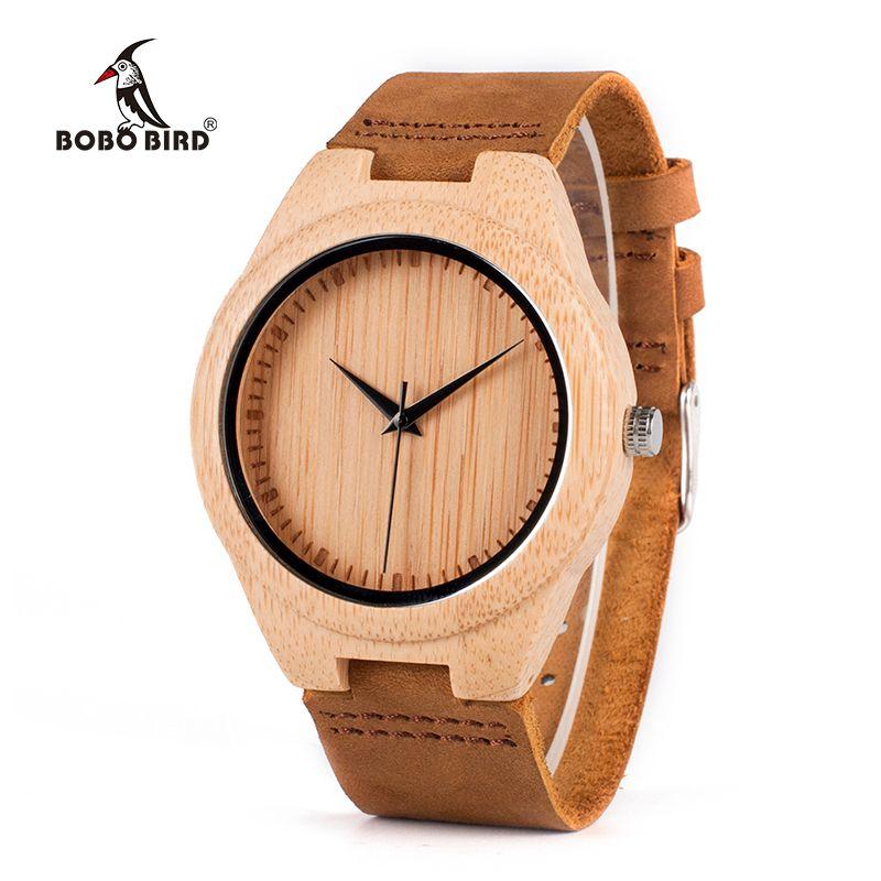 BOBO BIRD WF18 Miyota Movement Wristwatches Soft Leather Classic Bamboo Wooden Watches for Men Women Wood <font><b>Gifts</b></font> Box