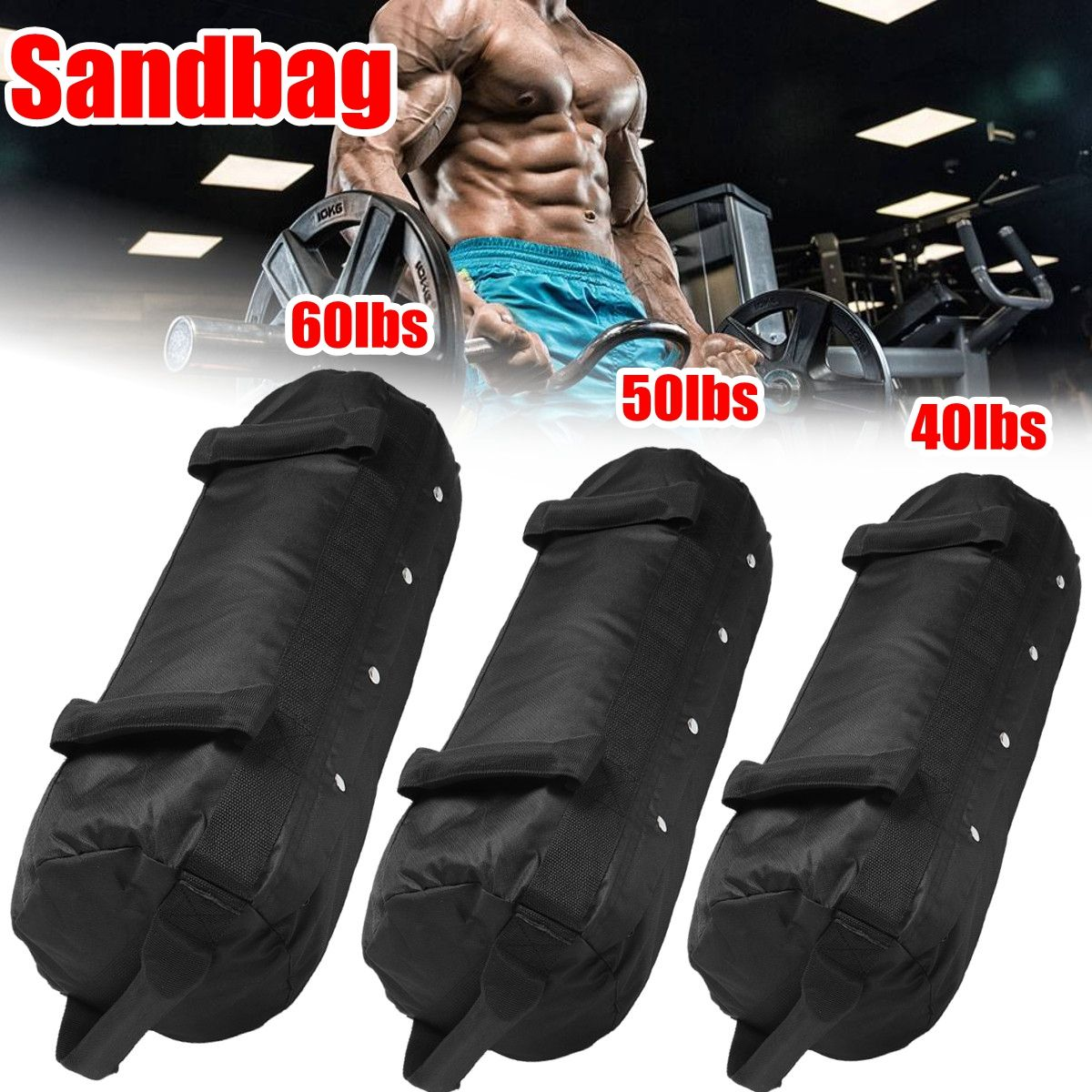 Weight Bags Weightlifting Sandbag Heavy Duty Sand Bag MMA Boxing Crossfit Military Power Training Body Shaper Fitness Equipment