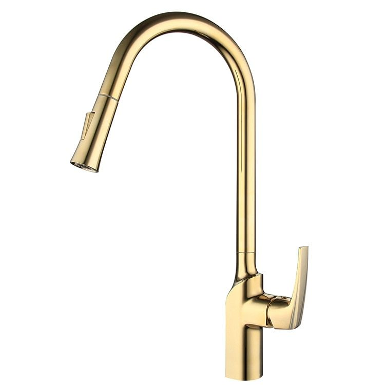 Luxury gold solid brass kitchen faucet pull down Mixer faucet with spray Cold and Hot faucet--High quality material