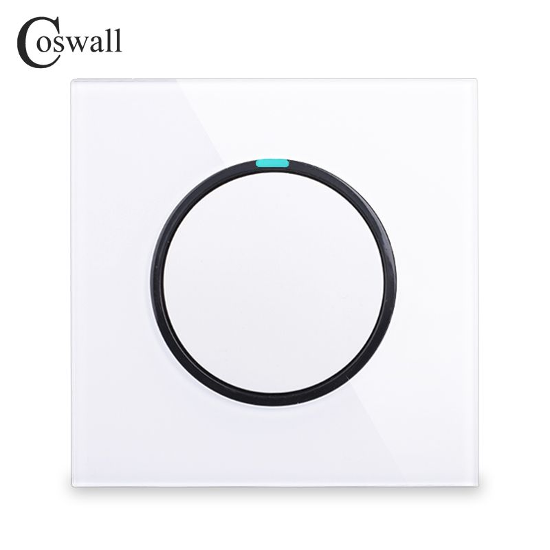 Coswall 2018 New Arrival 1 Gang 1 Way Random Click On / Off Wall Light Switch With LED Indicator Crystal Glass Panel