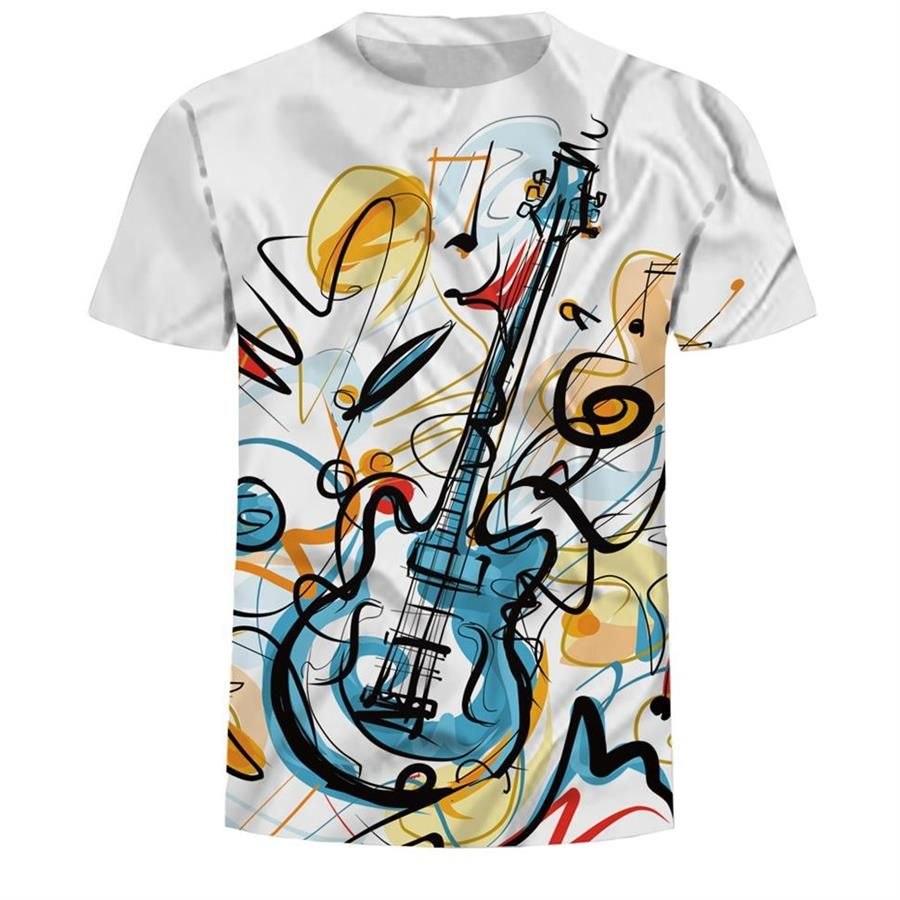 2019 vêtements de sport 3d peinture T-shirt hommes T-shirt Rock guitare impression été heureux meilleur Festival de musique T-shirt Top taille 3XL