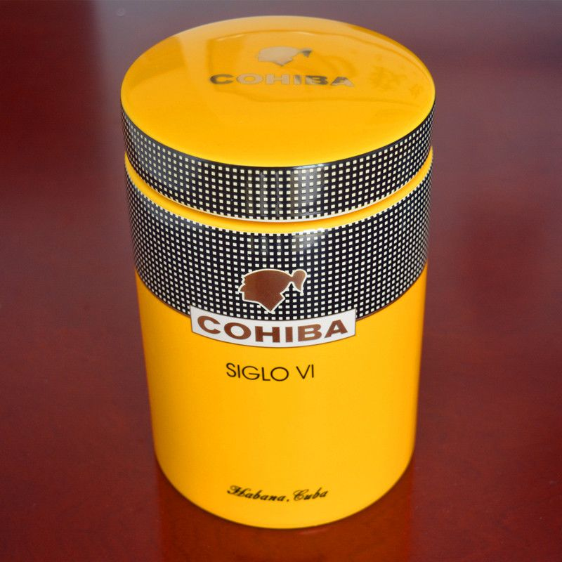 COHIBA Gadget Classic Yellow Cylindrical SIGLO VI Sheeny Porcelain Ceramic Cigar Tube Hermetic Jar MINI Humidor W/ Gfit Box