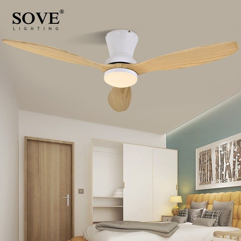SOVE White Nordic Modern LED Wooden Ceiling Fan Wood Ceiling Fans Lamp Living Room Attic Fan DC Ceiling Fans With Lights 220v