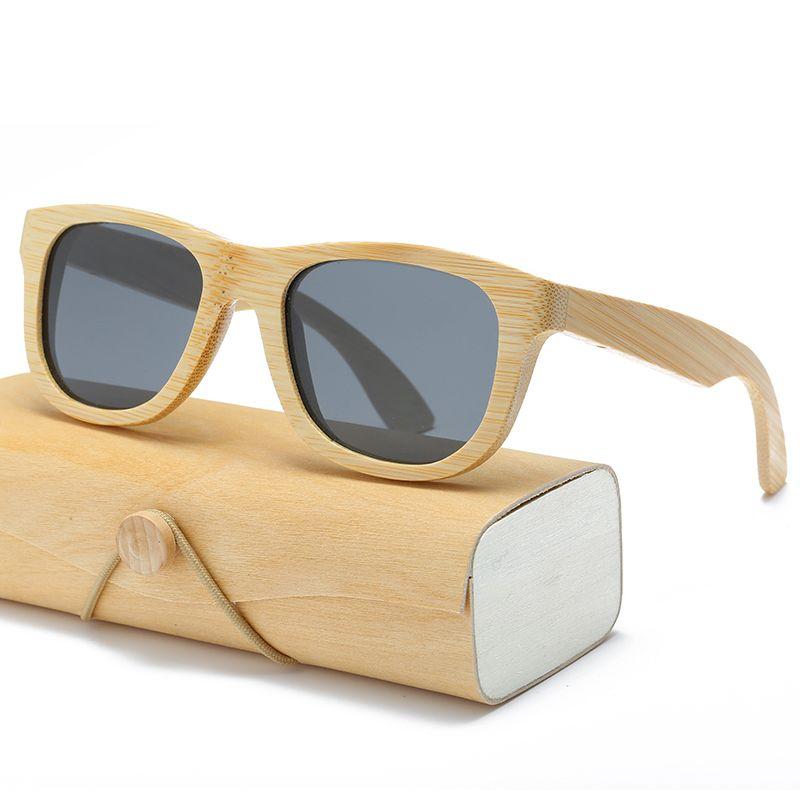 Lunettes de Soleil en bois Hommes femmes carré bambou Femmes pour hommes femmes Miroir Lunettes de Soleil rétro de sol masculino 2017 Fait Main avec cas