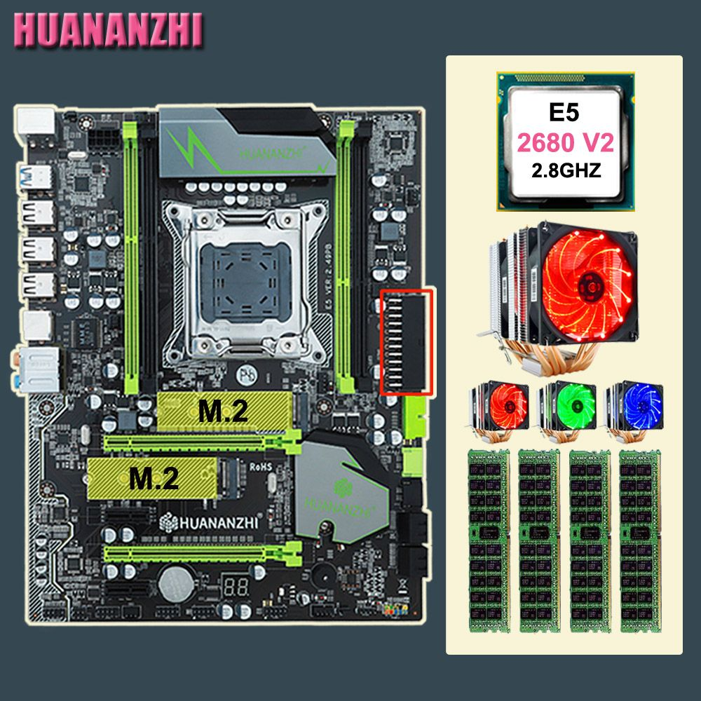 Computer DIY HUANANZHI X79 Pro motherboard mit dual M.2 slot rabatt mobo mit CPU Xeon E5 2680 V2 kühler RAM 64G (4*16G) RECC