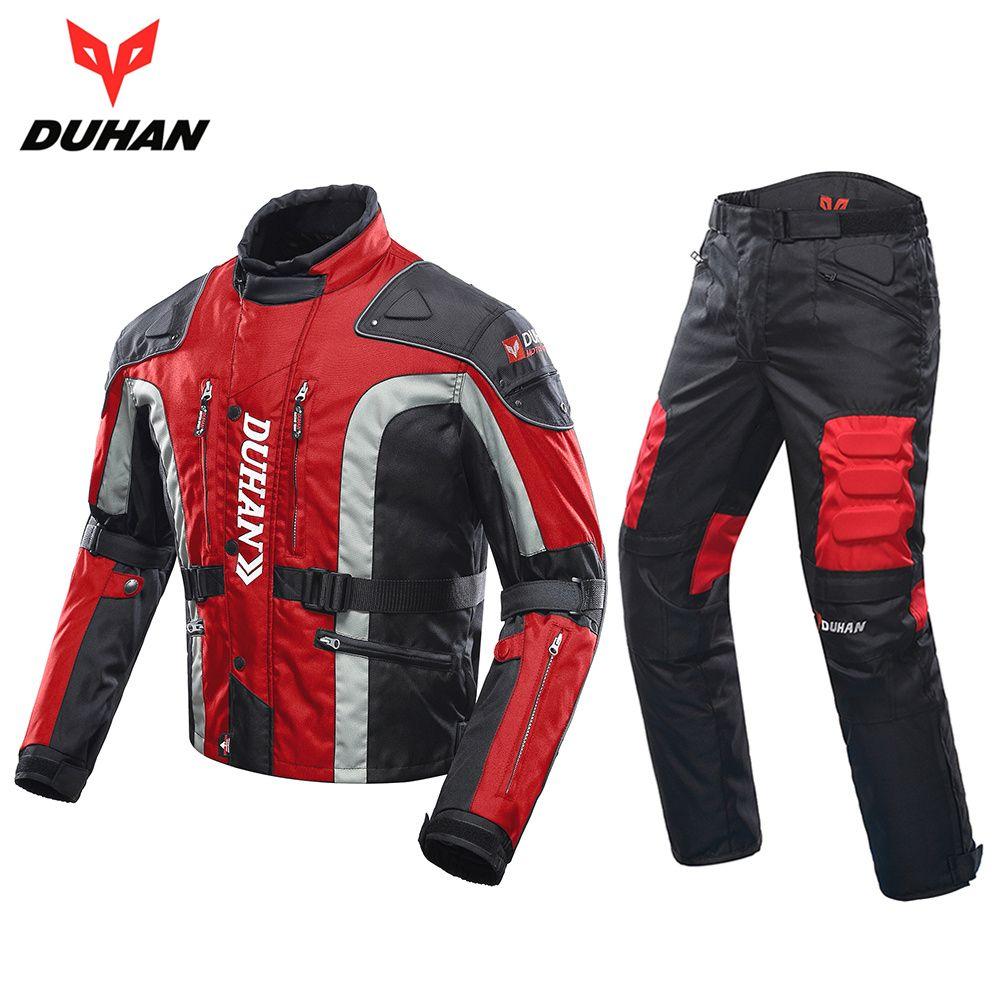 DUHAN Herbst Winter Kalt sichere Motorrad Jacke Moto + Schutz Motorrad Hosen Moto Anzug Touring Kleidung Schutzausrüstung Set