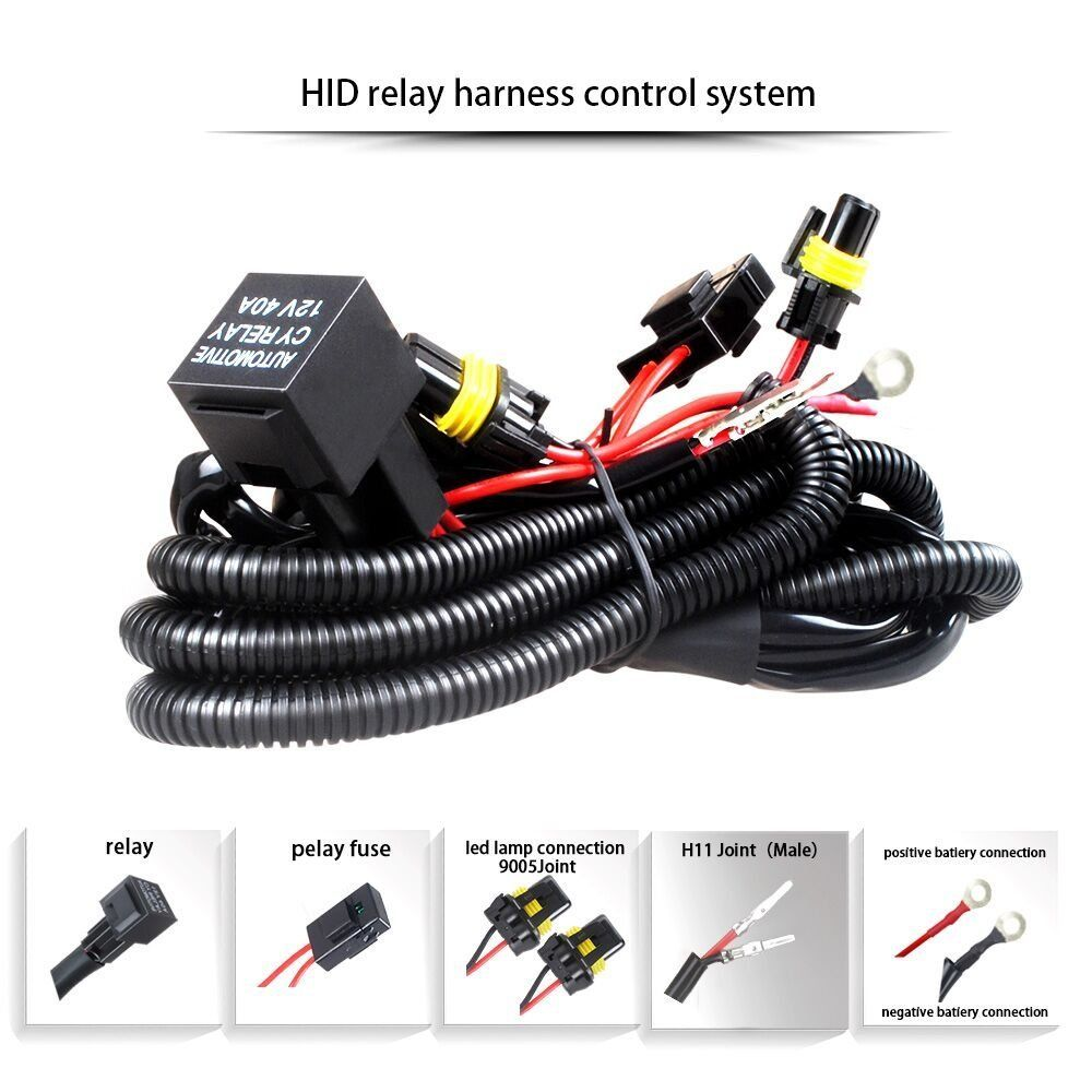 Rouxit car kit xenon HID wire harenss H4 H1 H3 9005 9006 HB3 HB4 880 H11 H7 HID Relay Harness wiring kit motorcycle 12V 35W/55W