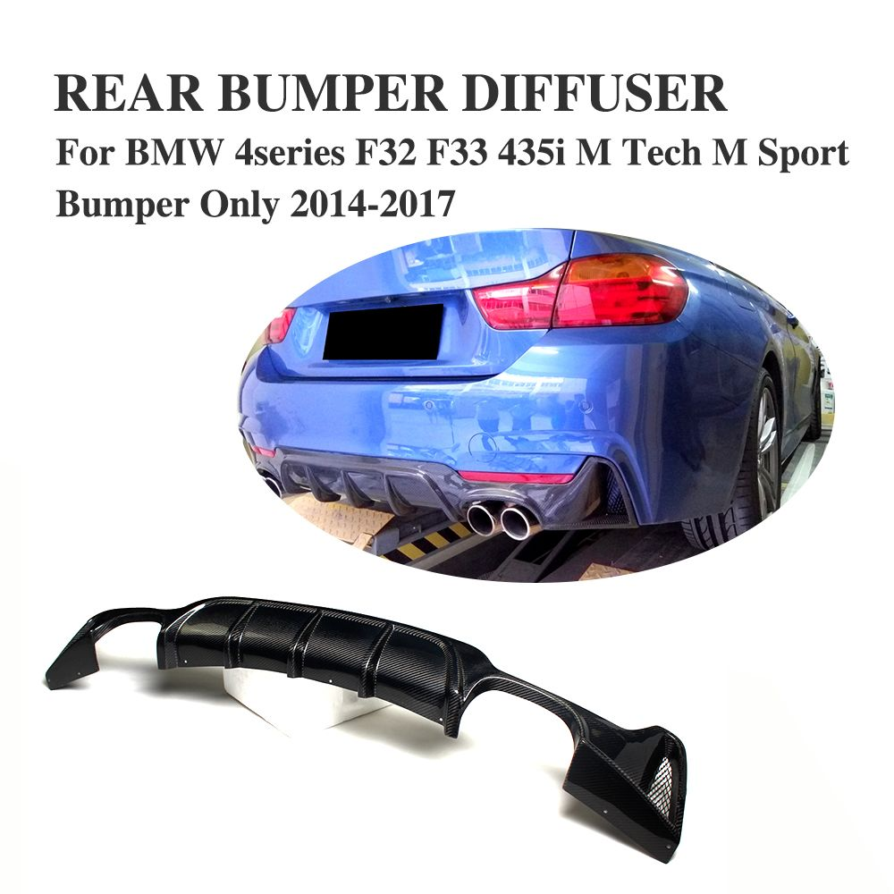 Carbon Fiber Rear Bumper Lip Diffuser Fit for BMW F32 F33 435i M Tech M Sport Bumper Only 2014-2017 Quad Exhaust Dual Outlet
