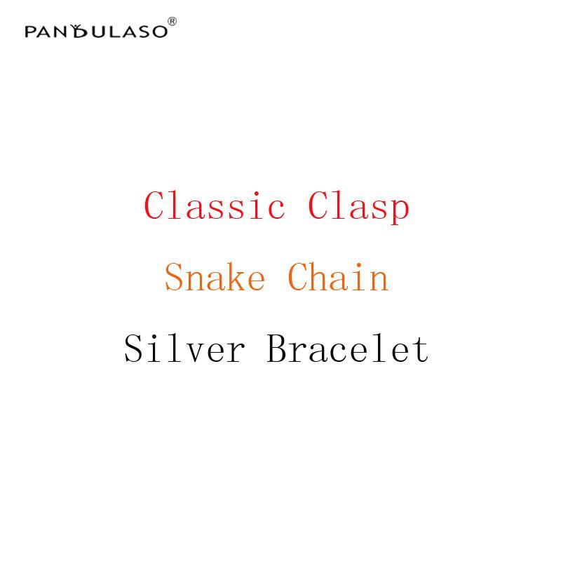 Pandulaso Snake Chain Bracelets With Classic Clasp <font><b>Starter</b></font> Bracelets Original Silver 925 Charms Bracelets for Women DIY Jewelry