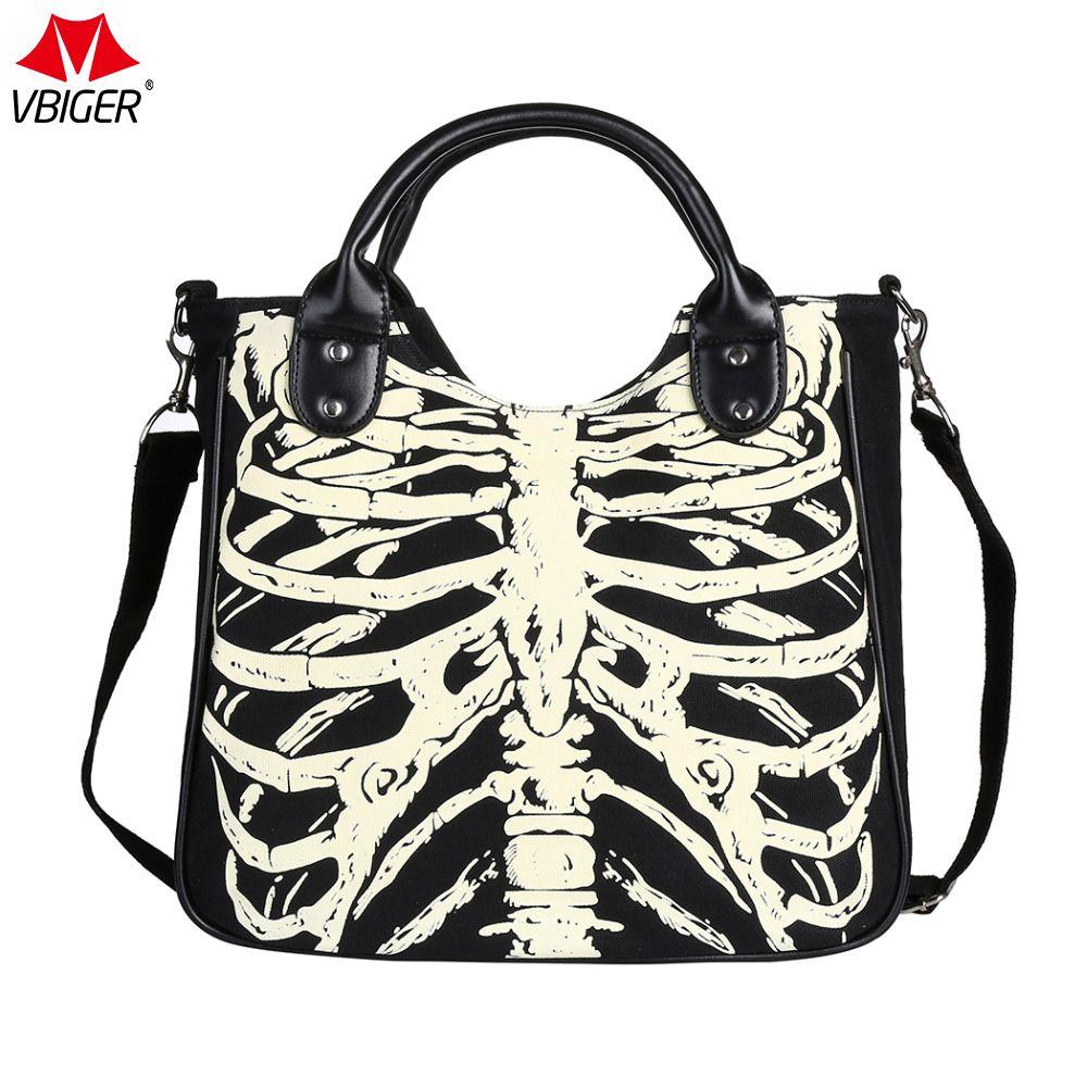 Vbiger Women Girl Skeleton Bones Bats Skulls Eyeballs Gothic Shoulder Bag Handbag Horror Bags Special Design Handbags