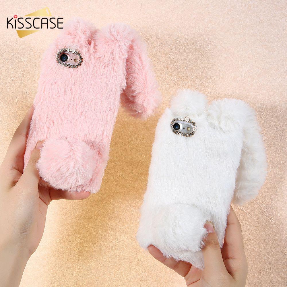 KISSCASE De Luxe De Fourrure De Lapin Cas Pour iPhone 7 6 6 S Plus Doux peluche Furry Mignon Diamant Téléphone Cas Pour iPhone 5S SE 5C Couverture