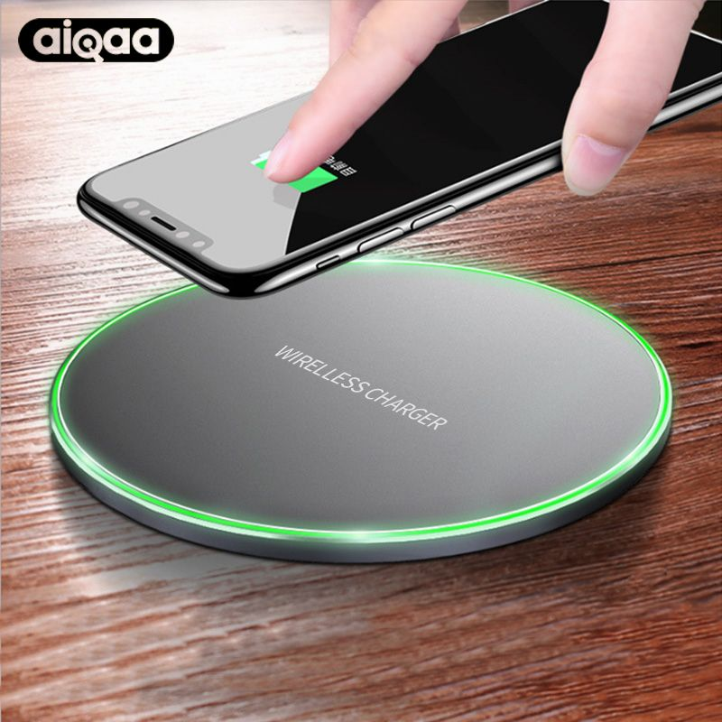 Aiqaa 10W Qi Wireless Charger For iPhone 8/X Fast Wireless Charging for Samsung S8/S8+/S7 Edge Nexus5 Lumia 820 USB Charger Pad