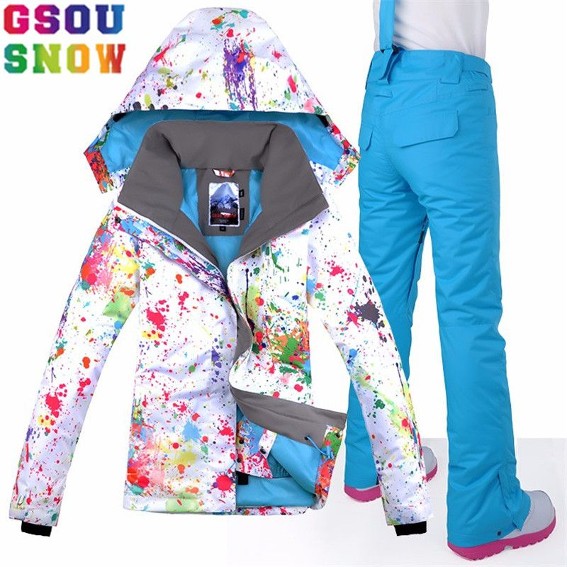 GSOU SNOW Brand Women Ski Suit Waterproof Ski Jacket Pants Winter Outdoor Skiing Snowboard Suit Set Jacket Pants Snow Clothes