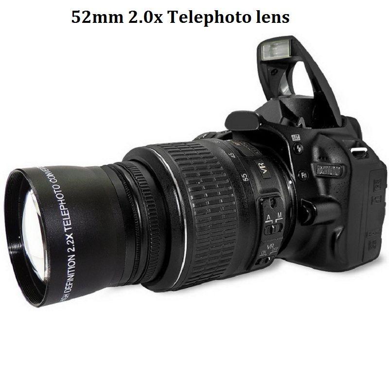 52 мм 2.0X телеобъектив для Nikon D90 D80 D700 D3000 D3100 D3200 D5000 D5100 D5200 18-55 мм зеркальные фотокамеры
