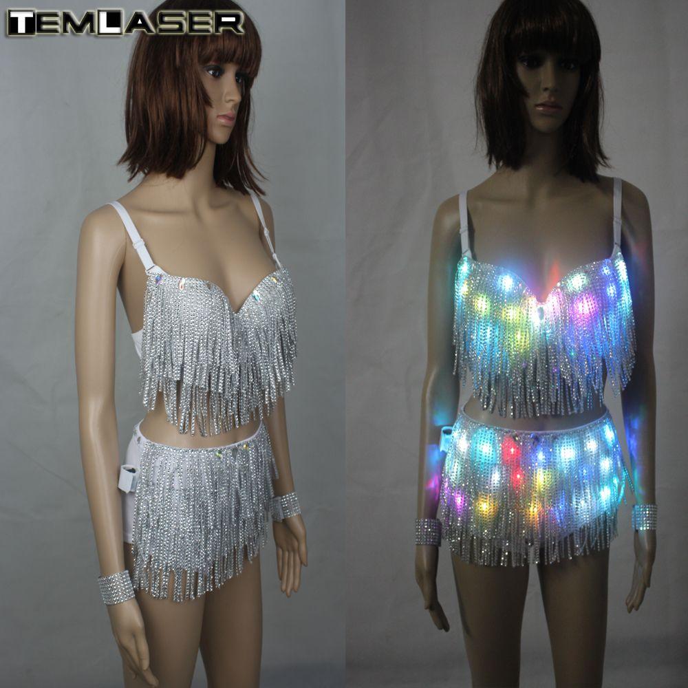 LED Clothes Luminous Costume Ladies Bra luminous Shorts LED Ballet Costume Party Suits el product