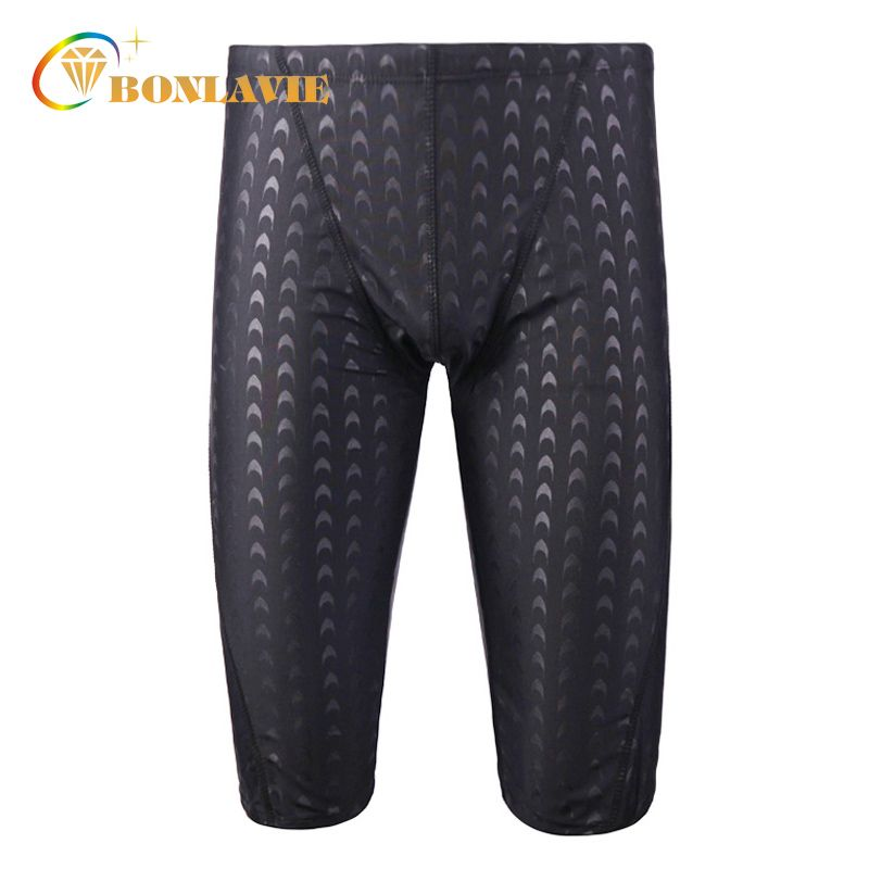 Men Swimwear Black Shark Skin Men's Swimming Trunks Quick Dry Plus Size Sunga Mens Swimming Shorts Adjustable Waist Gay Swimwear