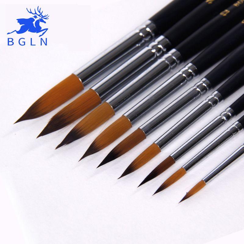 BGLN 9 pièces à Long Manche En Nylon Pinceaux Aquarelle Gouache Acrylique Peinture Pinceau Stylo pincel par peinture Fournitures D'art 804