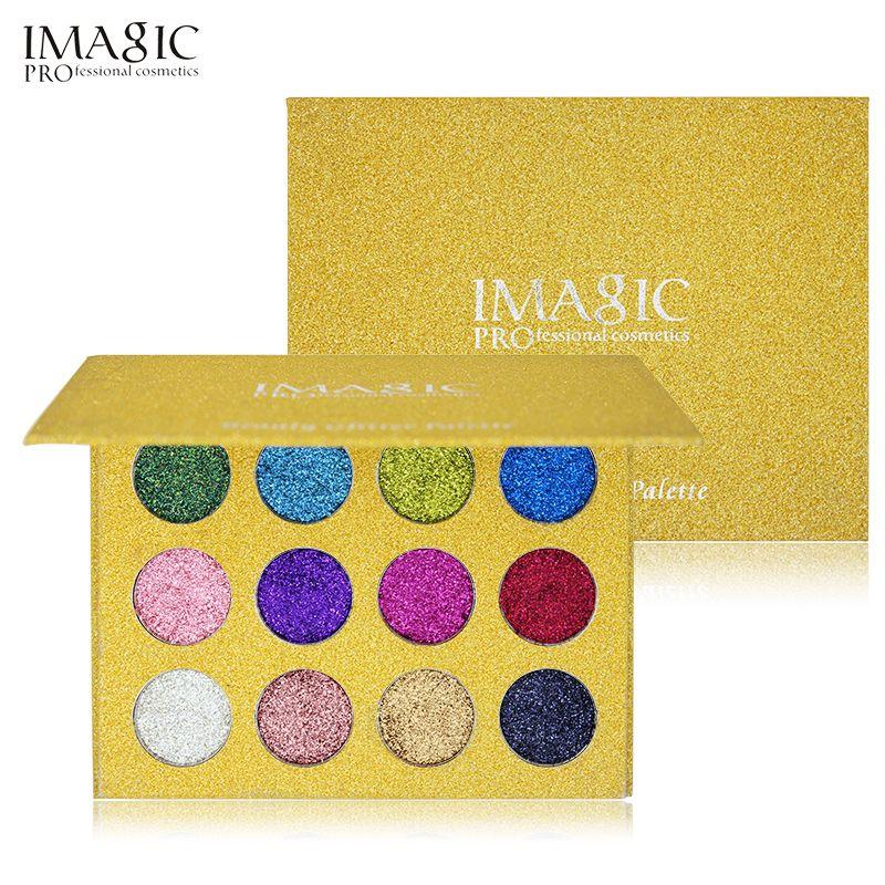 IMAGIC 12 Color Glitter Inyecciones Presionado Glitters Solo Diamante Arco Iris de Sombra de Ojos Maquillaje Cosmético sombra de Ojos Paleta De Imán