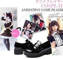 Baru Lucu Lolita Jepang School Girl Wanita Pembantu Round Toe Kulit Sepatu Sepatu Seragam Kawaii Lucu Anime Cosplay 2017