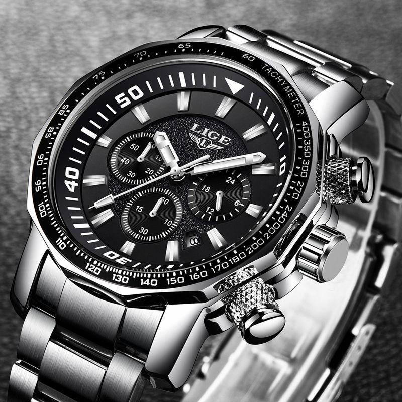 Relogio Masculino 2018 LIGE Mens Watches Top Brand Luxury Fashion Quartz Clock Men's All Steel Waterproof Sport Military Watch