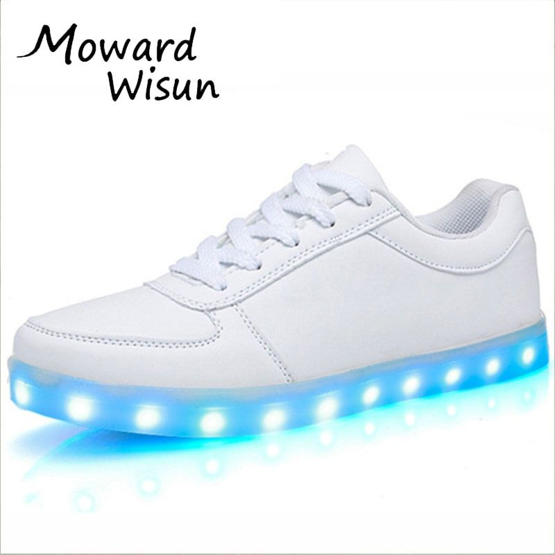 Fashion Usb Glowing Shoes Luminous Sneakers for Kids Boys LED Shoes with Light Up sole Krasovki Tenis <font><b>Feminino</b></font> LED Slippers 30