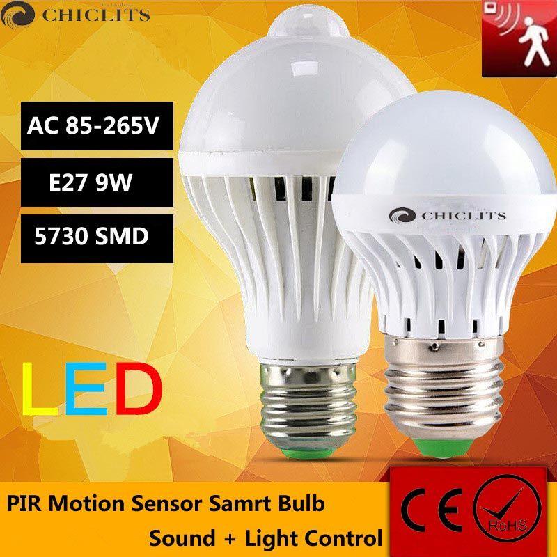 LED  Bulb Motion Sensor Lamp 110V 220V E27 Led Light 9W Sound+Light Auto Smart Led Infrared Body Lamp With Motion Sensor Lights