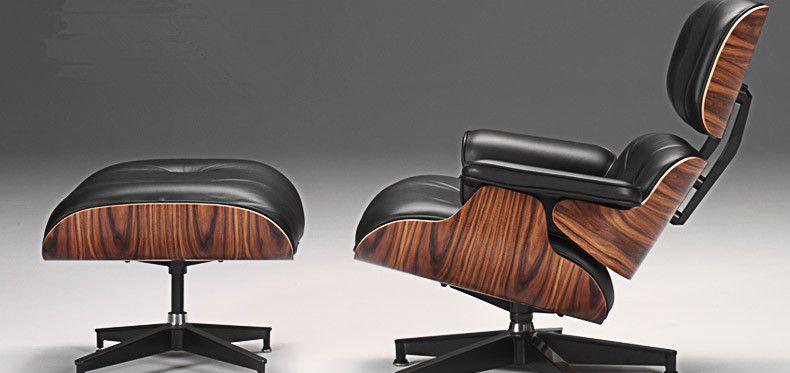 Mid Century Moderne Klassische Palisander Sperrholz Chaise Lounge Chair & Ottoman Premium High Grade Leder Chaise Lounge Swivel Stuhl