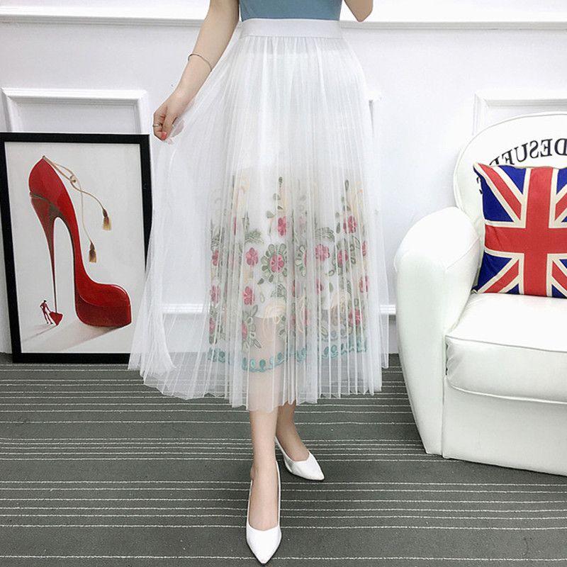 Femmes mode Vintage longues jupes noir blanc Floral maille broderie Saia ligne Faldas été bohème jupe mi-longue