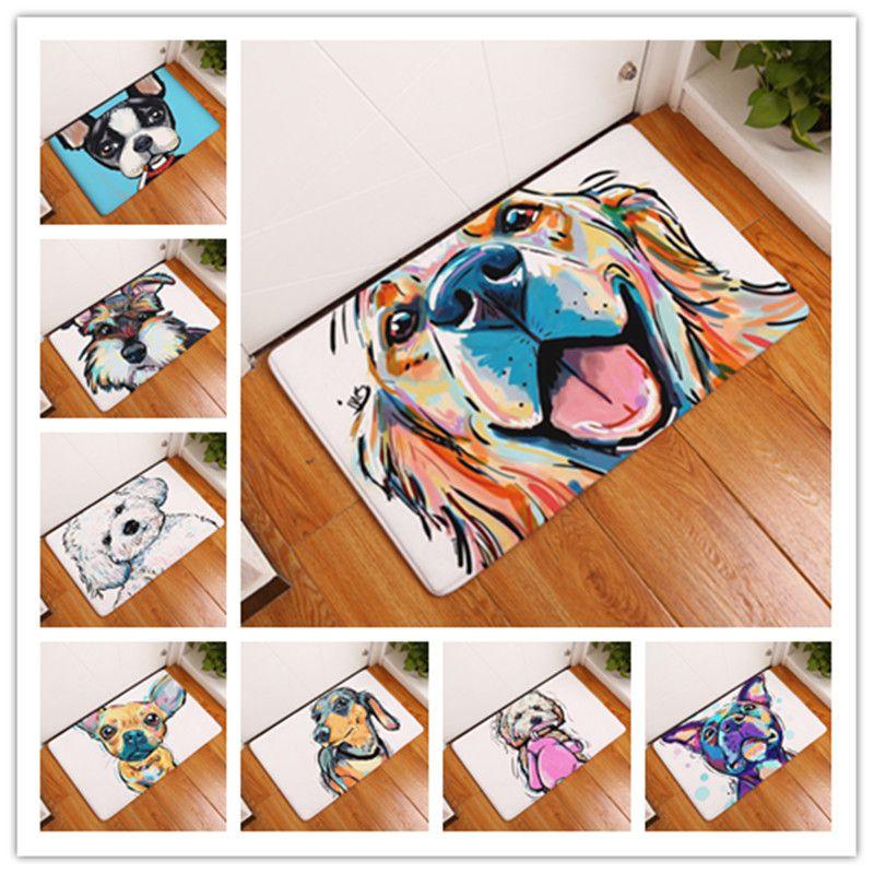 Nouveau Style de dessin animé beau chien peinture chiens imprimer tapis tapis de sol anti-dérapant tapis en plein air Animal porte avant tapis 40x60 50x80 cm
