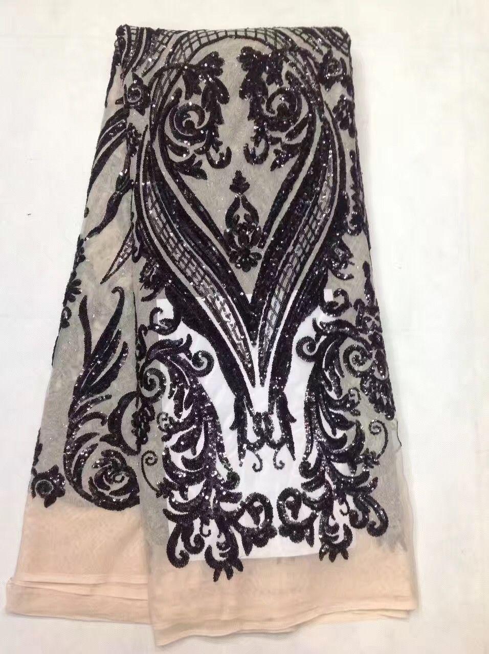 Chaud français nigérian paillettes net dentelle, tulle africain maille dentelle tissu de haute qualité pour la robe de mariée de fête 5 yards/lot JL122604