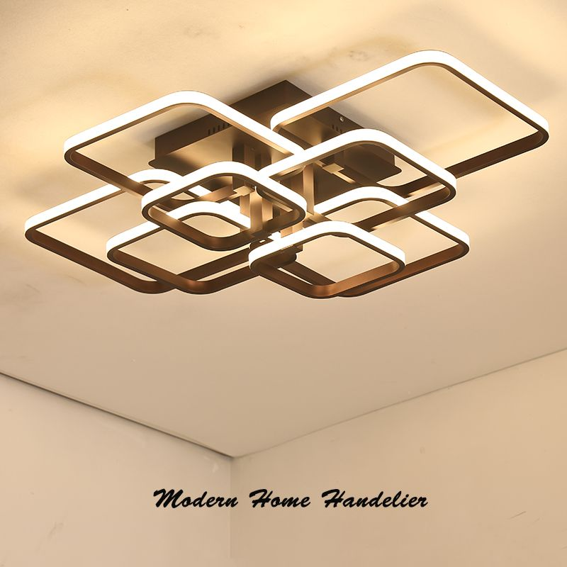 Square Circel Rings Chandelier For Living Room Bedroom Home AC85-<font><b>265V</b></font> Modern Led Ceiling Chandelier Lamp Fixtures Free Shipping