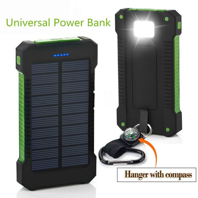 Top Solaire Puissance Banque Étanche 20000 mAh Solaire Chargeur 2 Ports USB Externe Chargeur Powerbank pour Smartphone avec LED Lumière