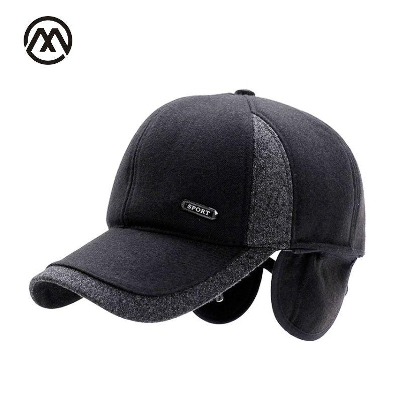 new Men's Winter Baseball Cap Wool Fur Hat Earmuffs Protecting Ear Hats Snapback Casquette hat Sports Outdoors Cap