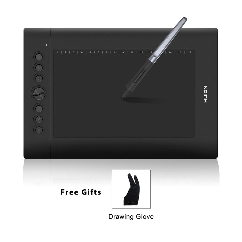 HUION H610 PRO V2 10 Digital Tablets Graphic <font><b>Drawing</b></font> Pen Tablet 8192 Levels Tilt Function Battery-Free Stylus with Glove Gift