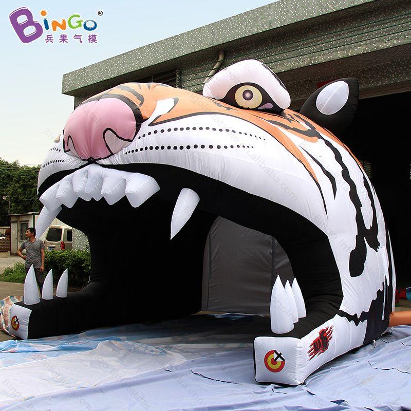 Angepasst 4x4,3x3,6 meter aufblasbare tiger kopf tunnel zelt nylon material tiger charakter schlauchboote spielzeug zelte