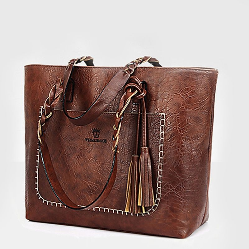 2018 Large Capacity Women Bags Shoulder Tote Bags bolsos New Women <font><b>Messenger</b></font> Bags With Tassel Famous Designers Leather Handbags