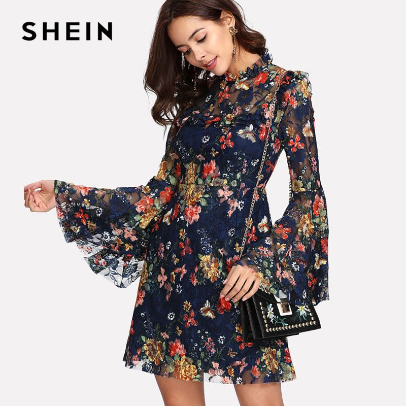 SHEIN Flower Print Swing A <font><b>Line</b></font> Summer Dress Long Sleeve Spring Multicolor Floral Calico Print Keyhole Back Bell Sleeve Dress