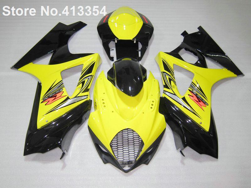Hot sale fairings for Suzuki GSXR 1000 07 08 yellow black motorbike fairing kit GSXR1000 2007 2008 RY29