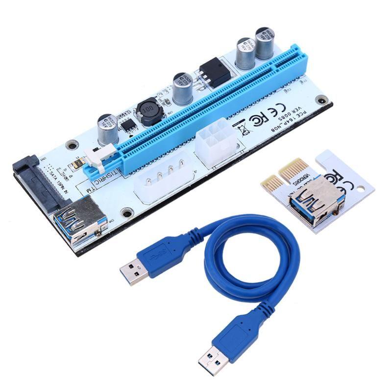 Ver 008S 60cm 3 in 1 Molex 4Pin SATA 6PIN PCIE PCI-E PCI Express Riser Card 1x to 16x USB 3.0 Cable For Mining Bitcoin Miner