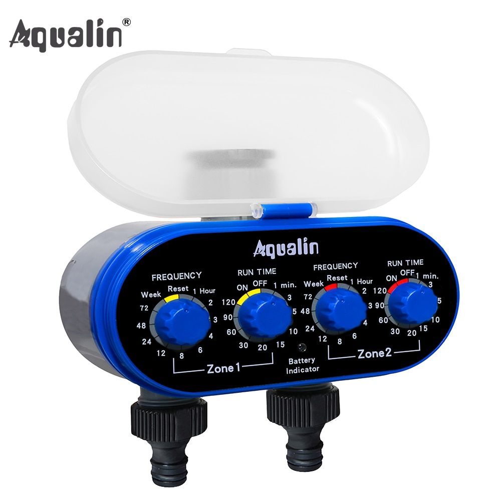 Home Ball Valve Electronic Two Outlet Four Dials Water Timer Garden Irrigation System for Garden, Yard #21032A
